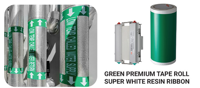 Green Premium Tape Roll Super White Resin Ribbon