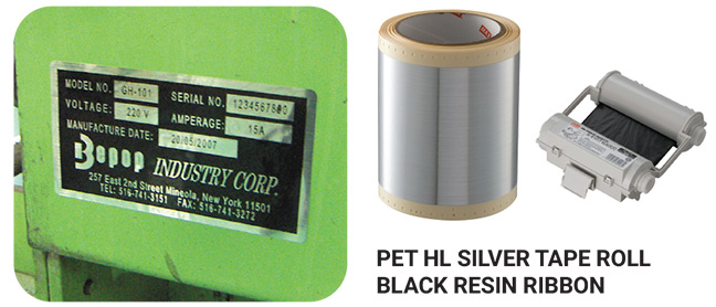 Pet Hl Silver Tape Roll Black Resin Ribbon