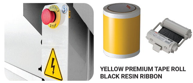Yellow Premium Tape Roll Black Resin Ribbon