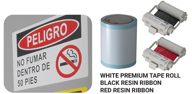 White Premium Tape Roll Black Resin Ribbon Red Resin Ribbon
