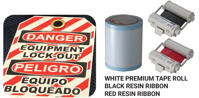 White Premium Tape Roll Black Resin Ribbon